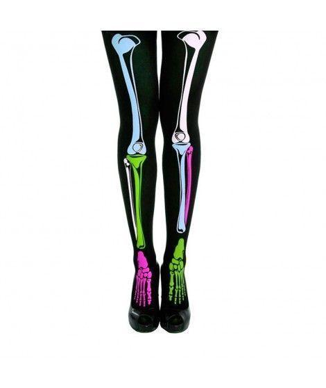 Medias de esqueleto colores Accesorio Carnaval y Halloween