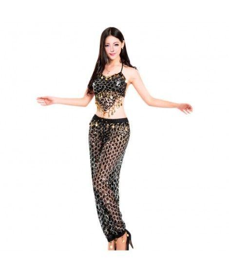 Conjunto Danza del Vientre Lentejuelas Top+Pantalón mujer adulto