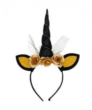 Diadema Unicornio Negro Oro
