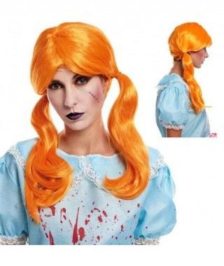 Peluca Hallowen Naranja Muñeca