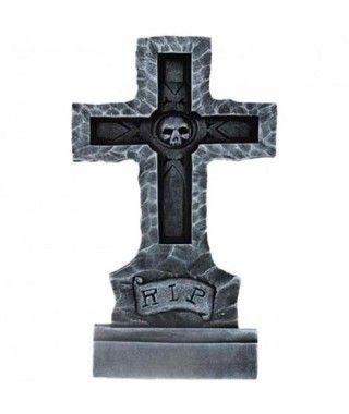 Lápida Decorativa Halloween Cruz Piedra