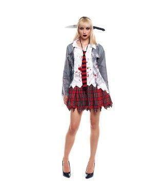 Disfraz Zombie Colegiala para mujer Uniforme Gris