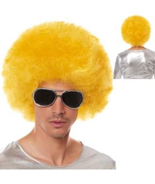 Peluca Afro Extragrande Amarilla Accesorio Carnaval