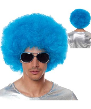 Peluca Afro Extragrande Azul Accesorio Carnaval