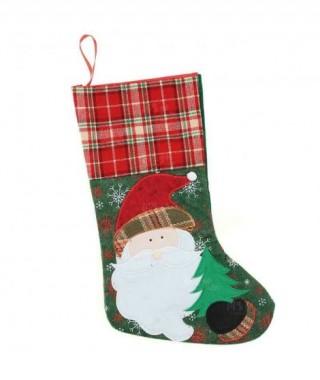 Calcetín Navidad Noel Escocés Bordado
