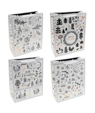 Bolsa Regalo Navidad Xmas Drawing Grey (12 uds)