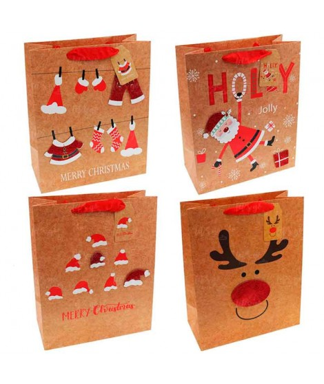 Bolsa Regalo Navidad Kraft (12 uds)