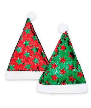 Gorro Papá Noel Bling Bling Verde Rojo