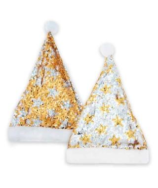 Gorro Papá Noel Bling Bling Oro Plata