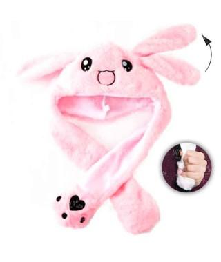 Gorro Conejo Rosa Peluche con Orejas que se mueven