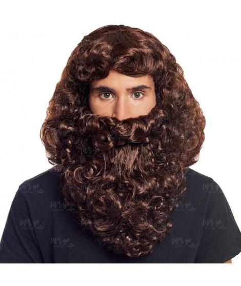 Peluca y Barba Castaña Rey Mago Gaspar Accesorio Disfraz