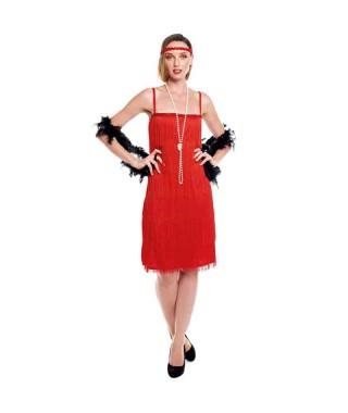 Disfraz Charleston flecos rojos mujer adulto para Carnaval