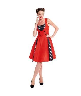 Disfraz Vestido Rockabilly Rojo Mujer