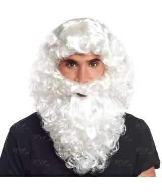 Peluca y Barba Blanca Papá Noel Accesorio Disfraz