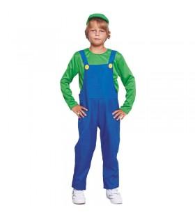Disfraz Fontanero verde niño infantil para Carnaval Cosplay Mario Bros Luigi