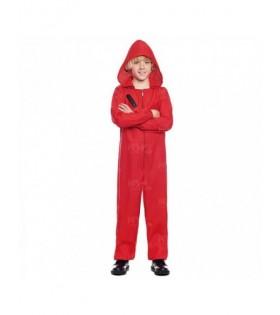 Mono Rojo Trabajo de Disfraz con Cremallera y Capucha Niños