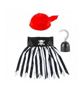 Conjunto Disfraz Pirata Niña [Falda Pañuelo Garfio]