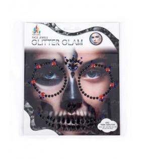 Pegatinas Faciales Gemas Joyas Tatuaje Cara Halloween Black Skull
