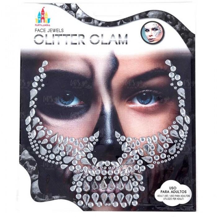Pegatinas Faciales Gemas Joyas Tatuaje Cara Halloween Diamond Skull