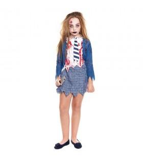 Disfraz Zombie Colegiala Azul para niña