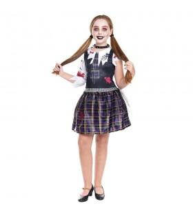 Disfraz Zombie Escolar Print para niña