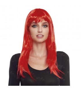 Peluca Lisa Larga Roja Disfraz