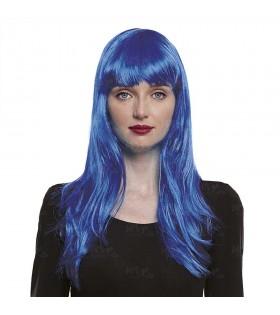 Peluca Lisa Larga Azul Oscuro Disfraz