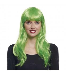 Peluca Lisa Larga Verde Disfraz