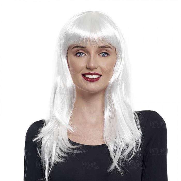 Peluca Lisa Larga Blanca Disfraz