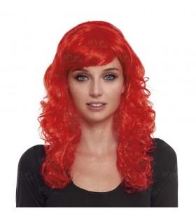 Peluca Ondulada Larga Roja Disfraz