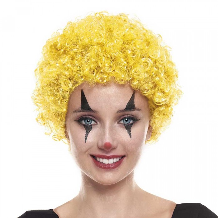 Peluca de Payaso Rizos Amarilla (70g) Disfraz