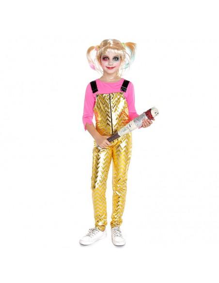 Disfraz Crazy Harlequin Dorado Niña Cosplay