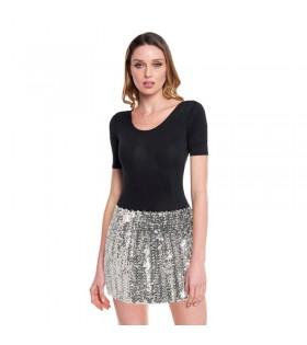 Minifalda Lentejuelas Plata adulto
