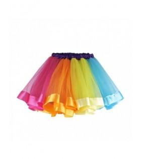 Tutú 7 Colores Niña Fantasía Tul y Satinado