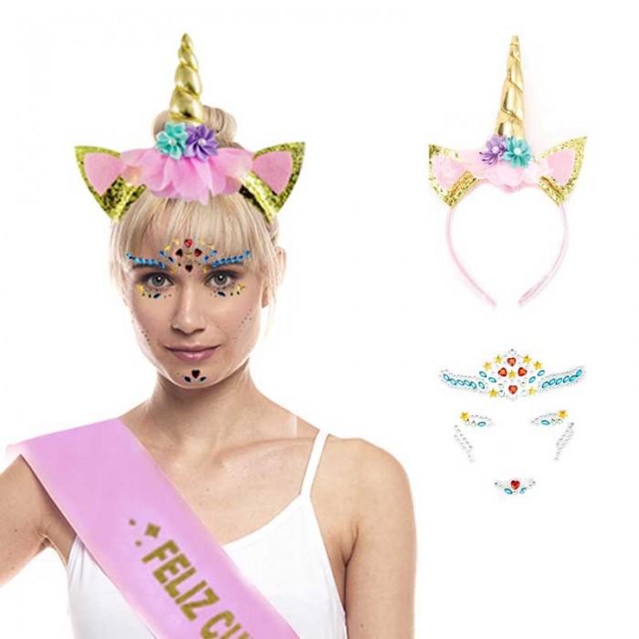 Set Diadema Unicornio con Joyas Faciales