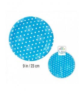 Plato Azul Lunares Papel (6 uds) Cumpleaños Baby Shower