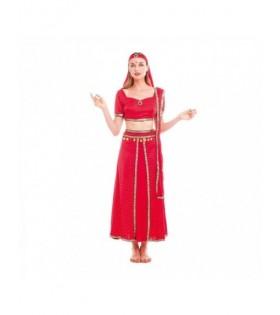 Disfraz Hindú Mujer Sari Rojo Bollywood Carnaval