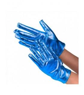Guantes Metalizados Azul Cortos Adulto Disfraz