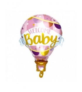 Globo Welcome Baby Rosa 79 x 61 cm Decoración Babyshower Mylar