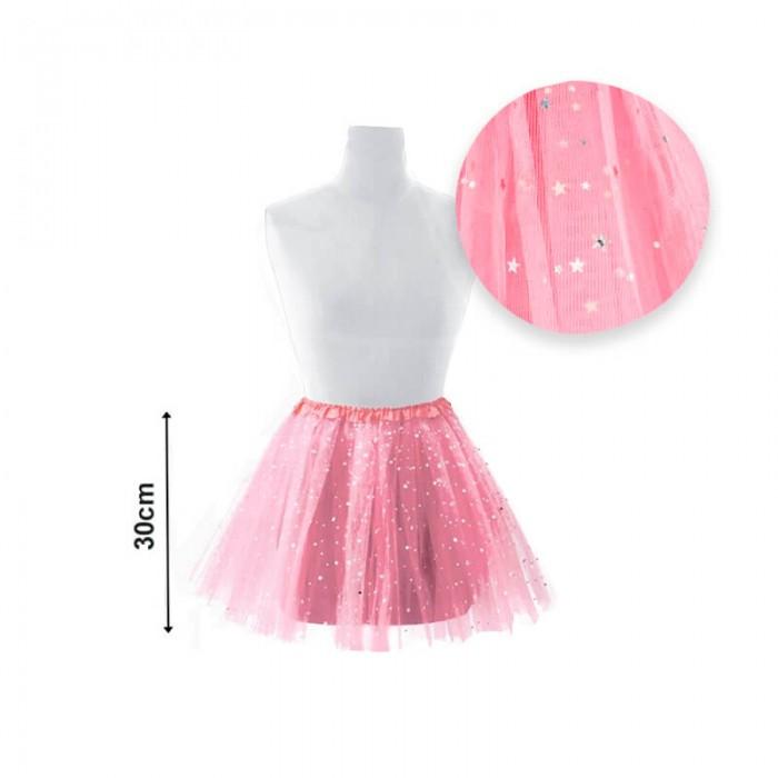 Tutú infantil estrellas 30 cm rosa