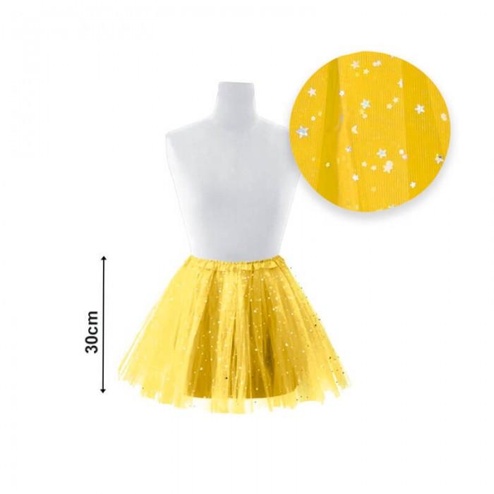 Tutú infantil estrellas 30 cm amarillo