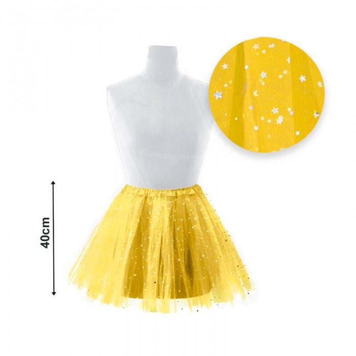 Tutú adulto estrellas 40 cm amarillo