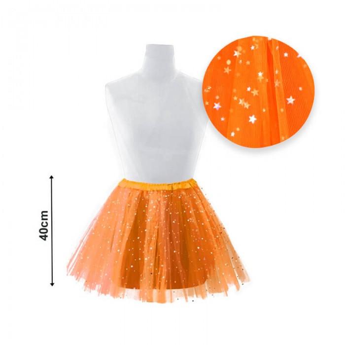 Tutú adulto estrellas 40 cm naranja