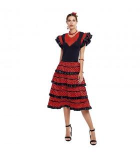 Vestido Sevillanas Adulto Rojo lunares negros borde negro