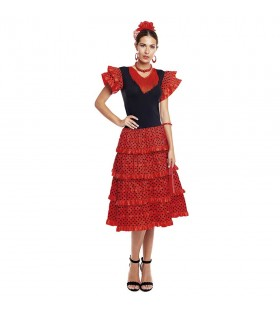 Vestido Sevillanas Adulto Rojo Volantes Rojos