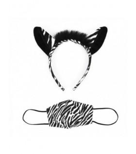 Conjunto Disfraz Cebra Orejas y Mascarilla