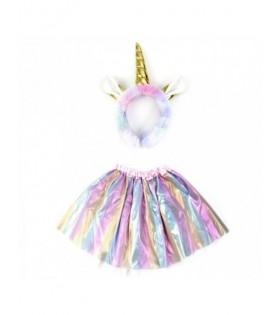 Conjunto Set Disfraz Unicornio Peluche [Diadema Tutú]