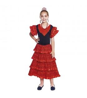 Vestido Sevillana Niña Volantes Rojo Negro Borde Rojo [Traje Flamenca Infantil]