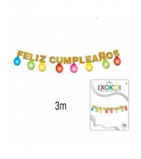 Guirnalda Feliz Cumpleaños Oro con Globos 3m Decoración
