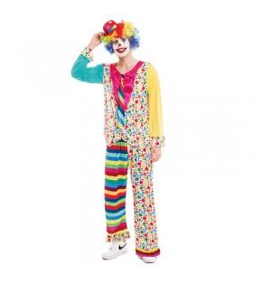 Disfraz Payaso Hombre Clown Topos y Rayas